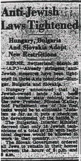 Anti-Jewish Laws Tightened. The Montreal Daily Star. March 20, 1942. np.