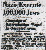Nazis Execute 100,000 Jews. The Montreal Daily Star. March 17, 1942. np.