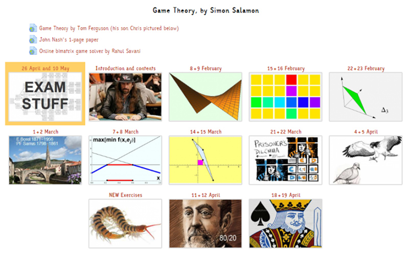 Online Course of Game Theory given by prof. Simon Salomon, King's College, London.